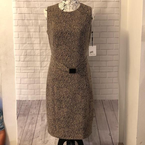NWT Calvin Klein animal print sheath dress belt a16284623
